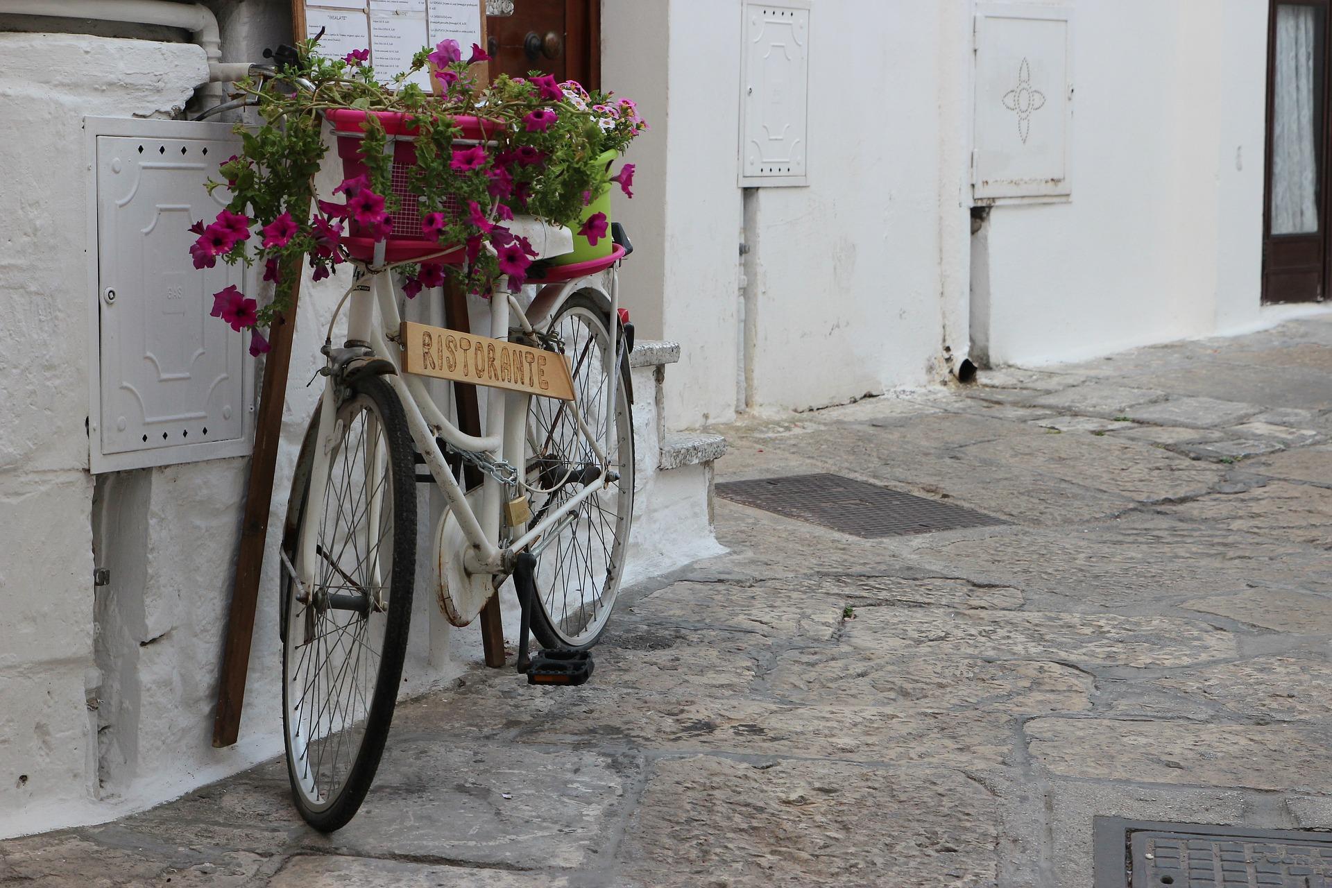 bicicletta bianca con fiori fucsia nel cestino appoggiata a case bianche